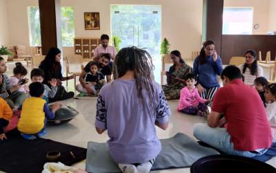 ATELIER PERCUSSIONS ENFANTS – PARENTS, NEW DELHI, INDE, dec 2019.